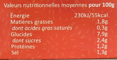 Soupe Tom Yum - Informations nutritionnelles