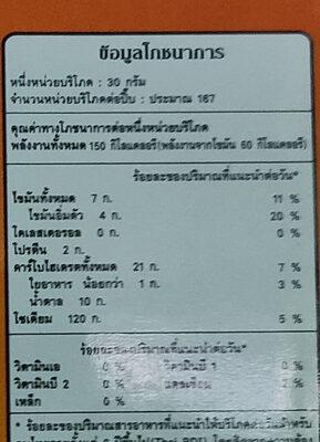 คุกกี้ครีมขาว - Informations nutritionnelles