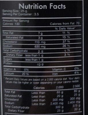 ปลาข้าวสารกรอบ รสวาซาบิ - Informations nutritionnelles - th