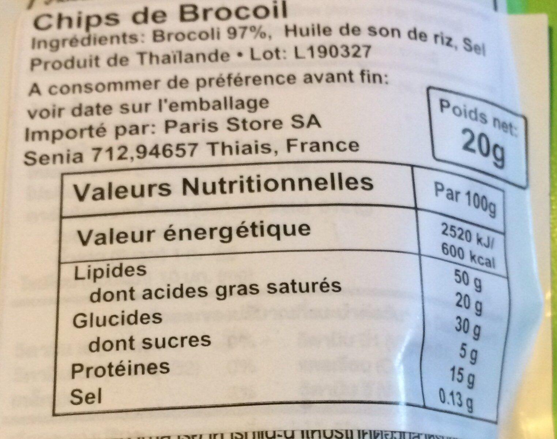 Broccoli chips - Nutrition facts - en