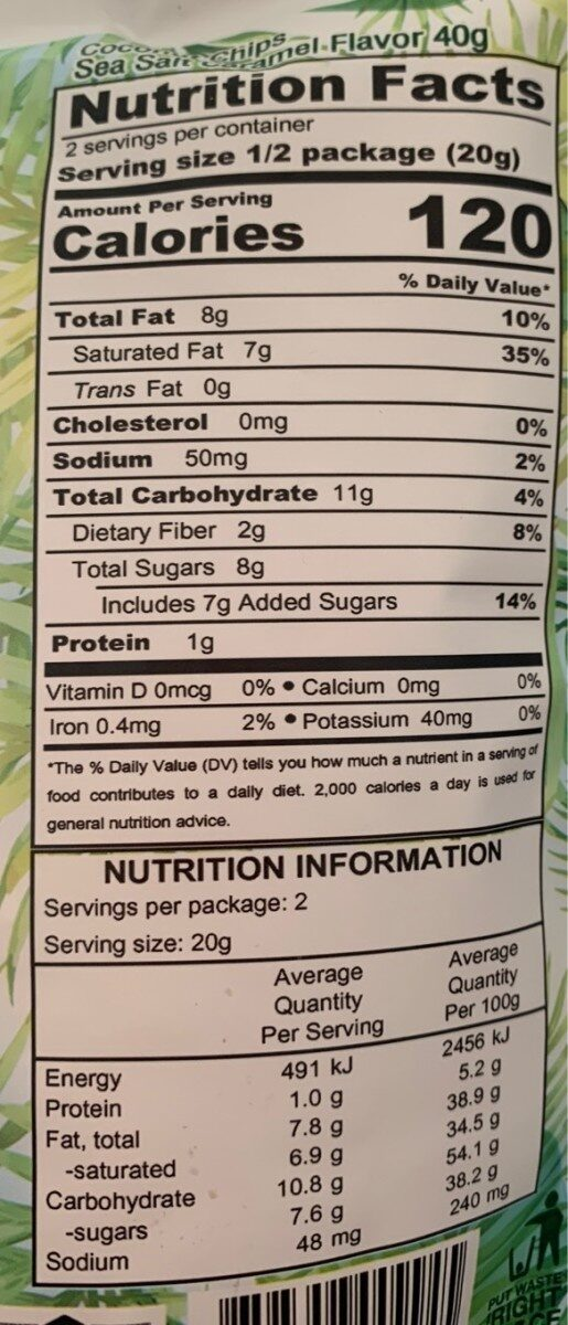 Coconut Chips Caramel - Nutrition facts - fr