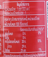 บิ๊กโคล่า - Nutrition facts - th