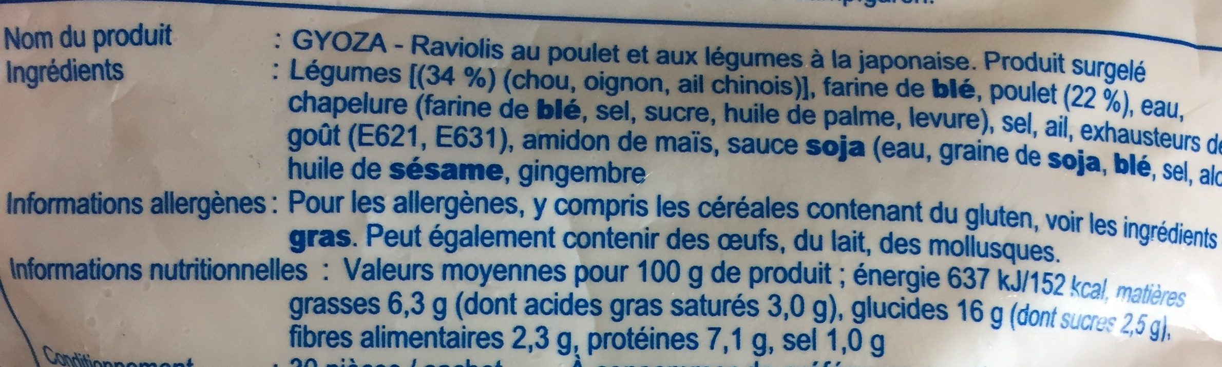30 Gyozas Poulet Et Legumes - Ingredienti - fr