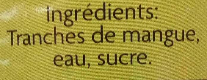 Mangues en tranches au sirop léger - Ingredients - fr