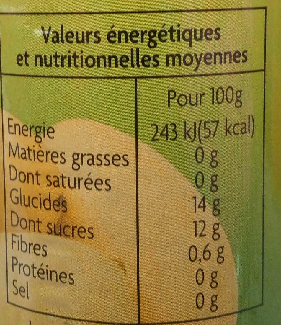 Mangues en tranches au sirop léger - Nutrition facts - fr