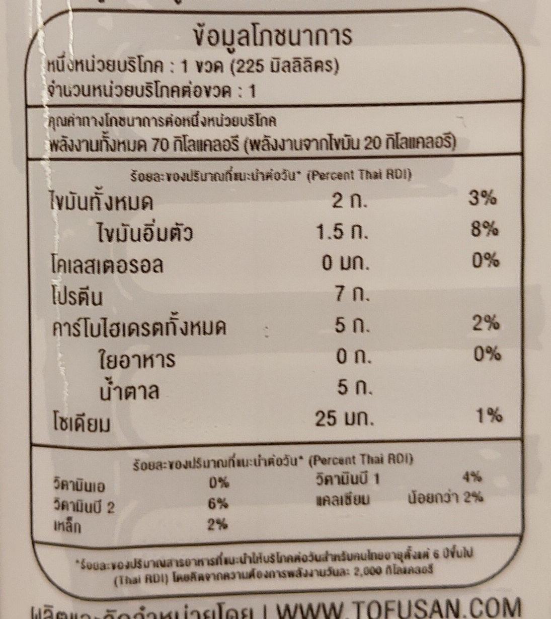 น้ำเต้าหู้หวานน้อย - Informations nutritionnelles - th