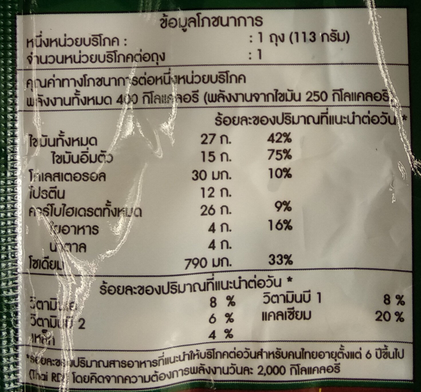 เดนิชผักโขมแฮมชีสแซนวิช - Nutrition facts