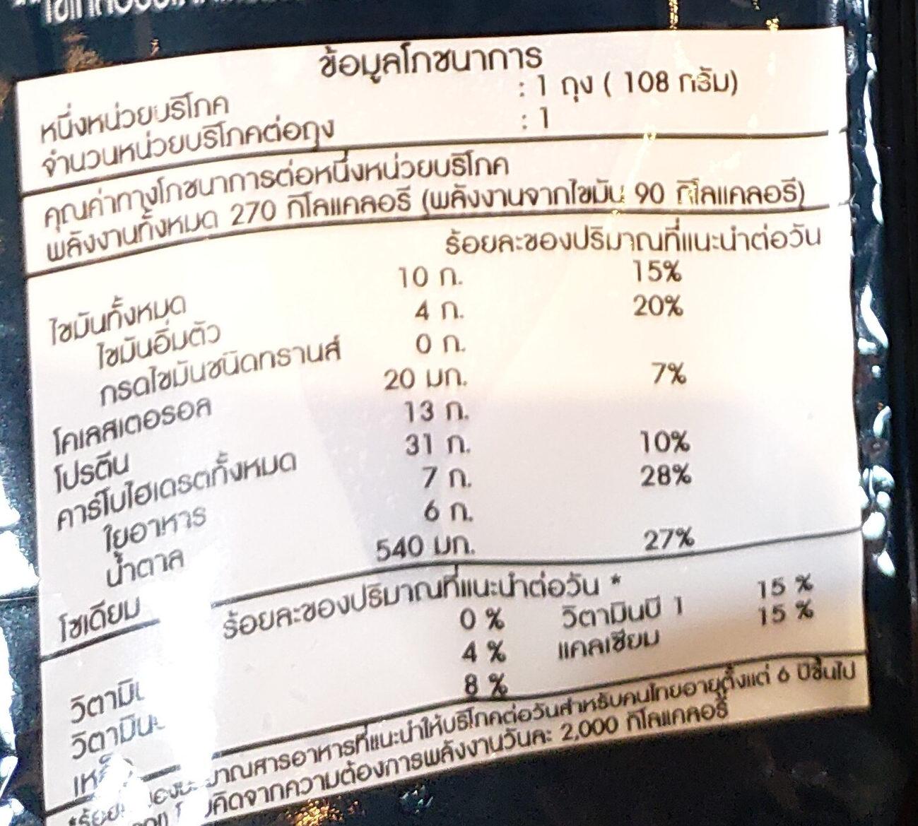 เบอร์เกอร์หมูชีส - Nutrition facts - th