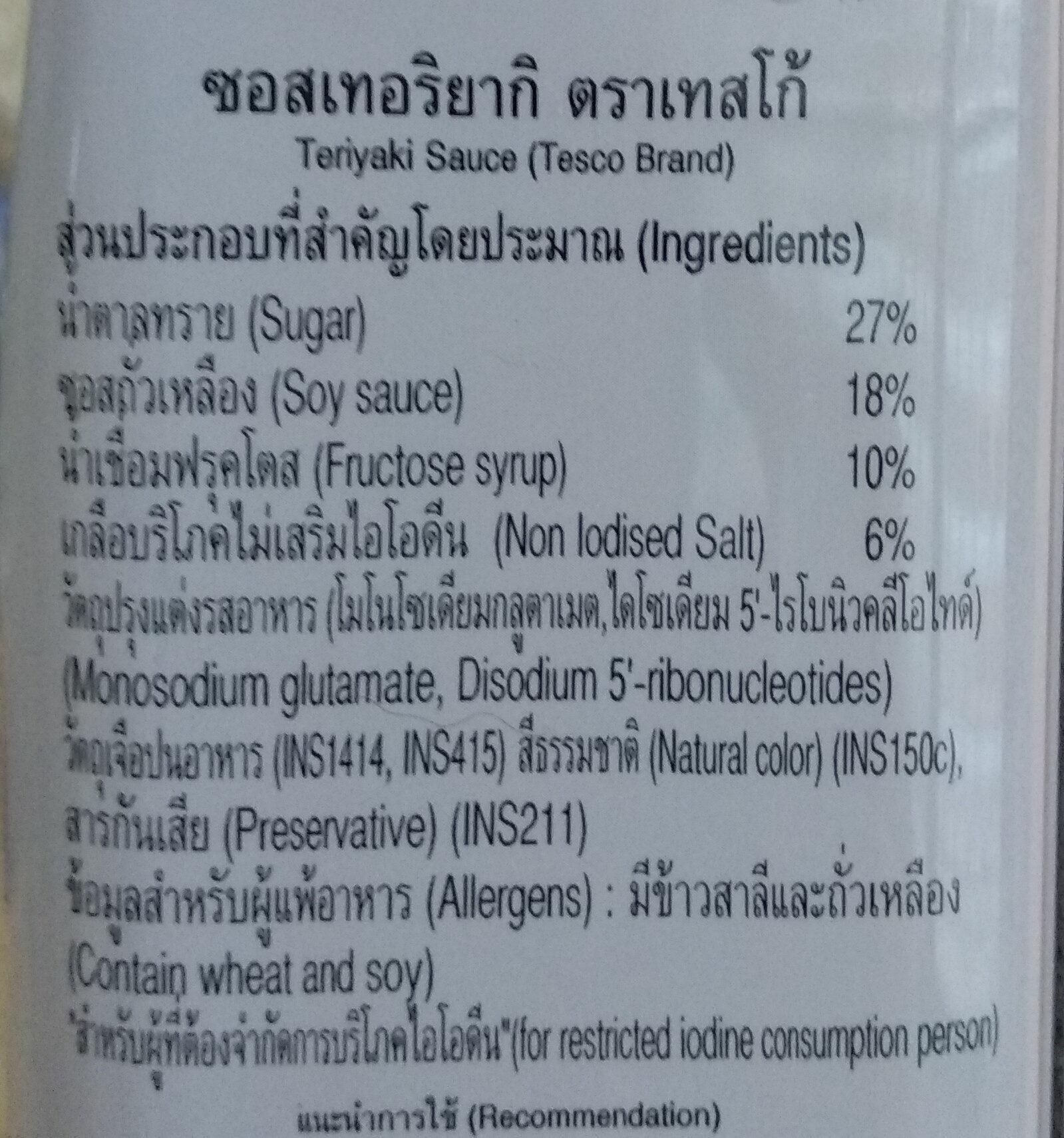 ซอสเทอริยากิ - Ingredients