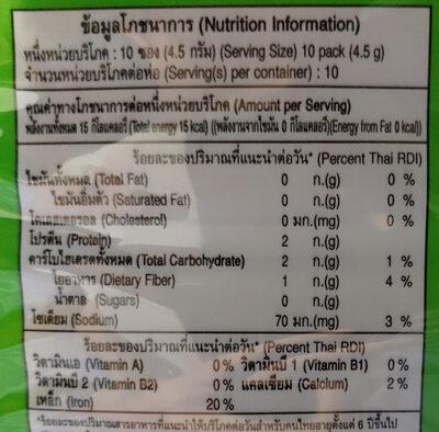 สาหร่ายปรุงรส - Nutrition facts