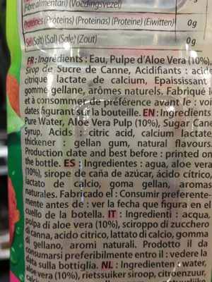 Aloe Drink for life - Ingrédients