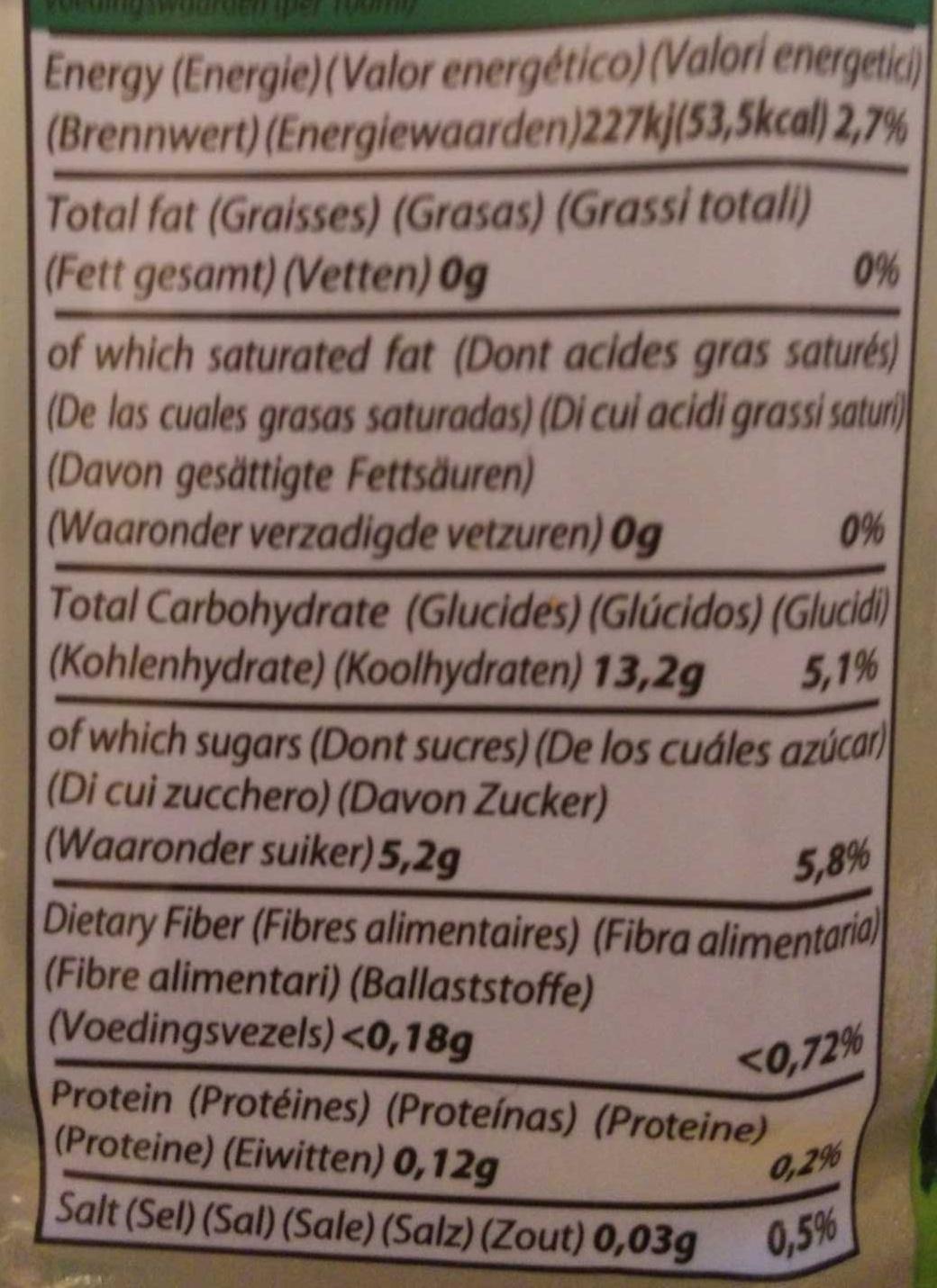Aloe Drink for Life! - Voedigswaarden