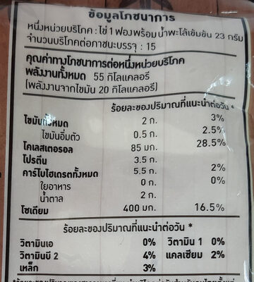 ไข่พะโล้ - Valori nutrizionali - th