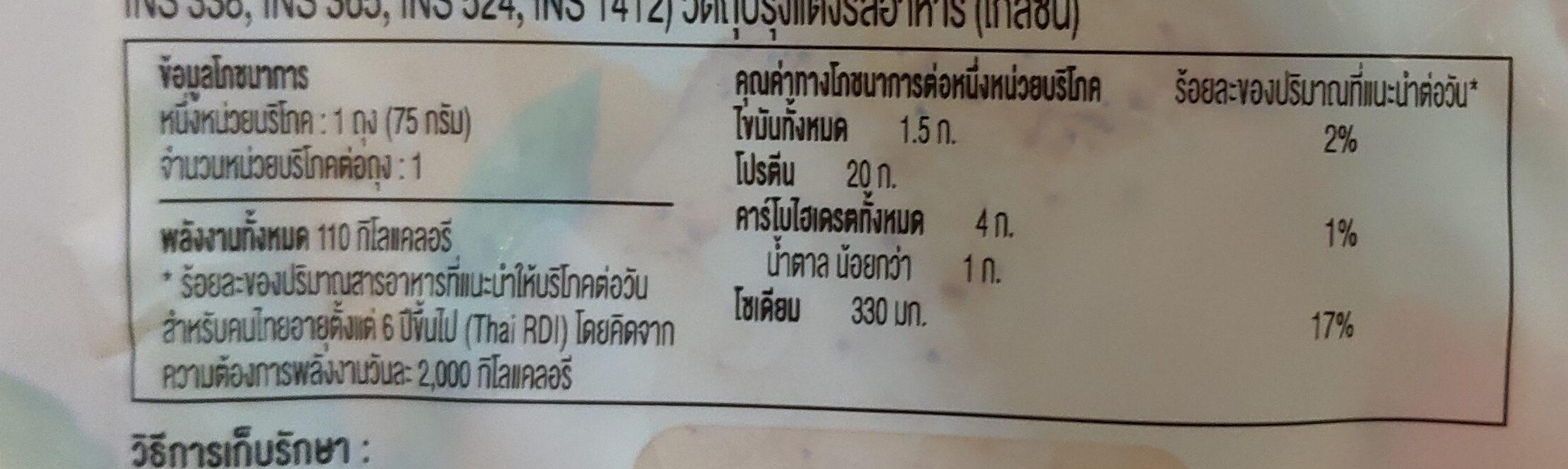 อกไก่นุ่มรสกระเทียมพริกไทย - Nutrition facts