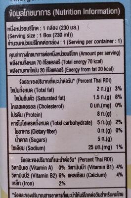 นมถั่วเหลือง สูตรหวานน้อย - Nutrition facts