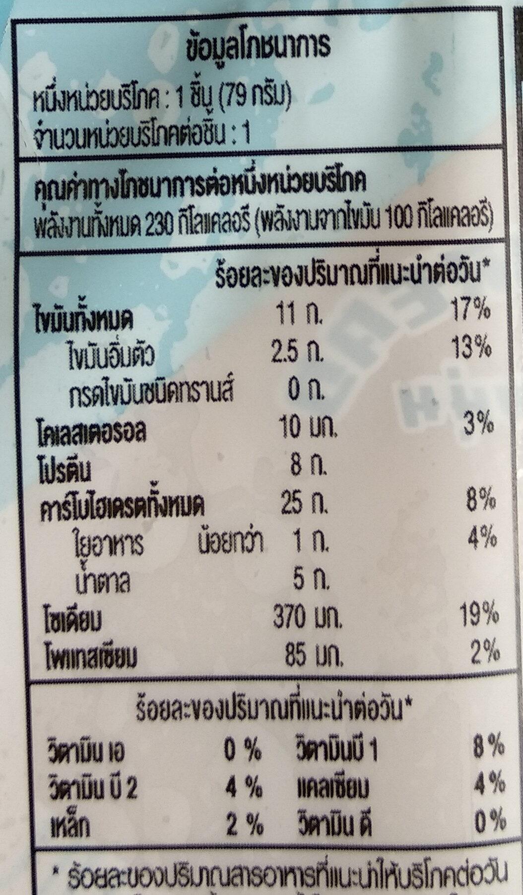 แซนวิชทูน่าสเปรด - Voedingswaarden - th