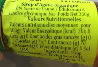 Sirop d'Agave organique - Ingredients