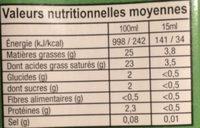 Crème de coco très onctueuse - Nutrition facts