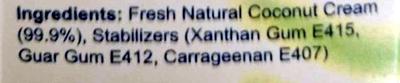 UHT Natural Coconut Cream - Ingredients