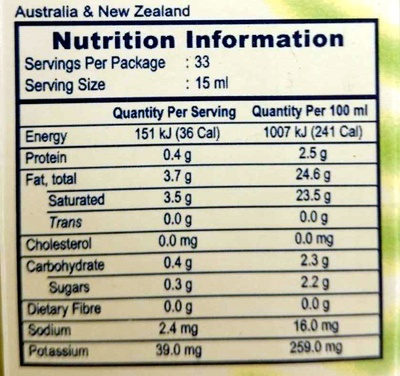 UHT Natural Coconut Cream - Nutrition facts