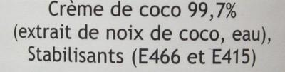 Crème de coco - Ingrédients