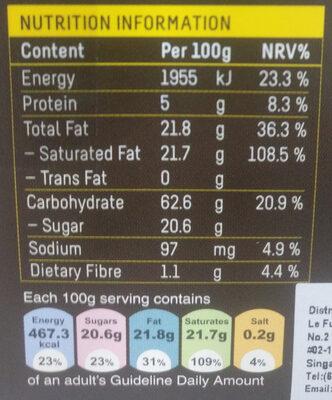 Mango Flavour Creme-filled Dark Chocolate Praline - Voedingswaarden - en