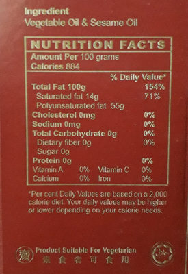 Sesame Oil - Informations nutritionnelles - en