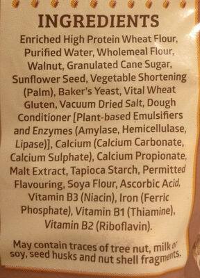 California Walnut Wholemeal bread - Ingredients