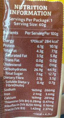 Chocolate & Cookies Wholemeal Soft Bun - Voedingswaarden - en
