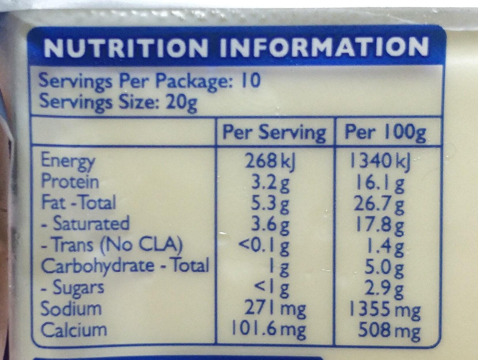 Sliced cheese - Voedingswaarden - en