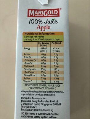 100% Apple juice - Informations nutritionnelles