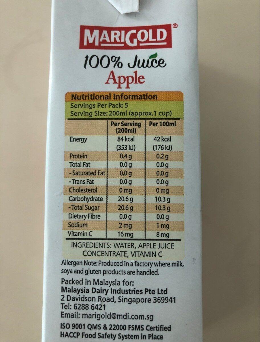 100% Apple juice - Informations nutritionnelles - en