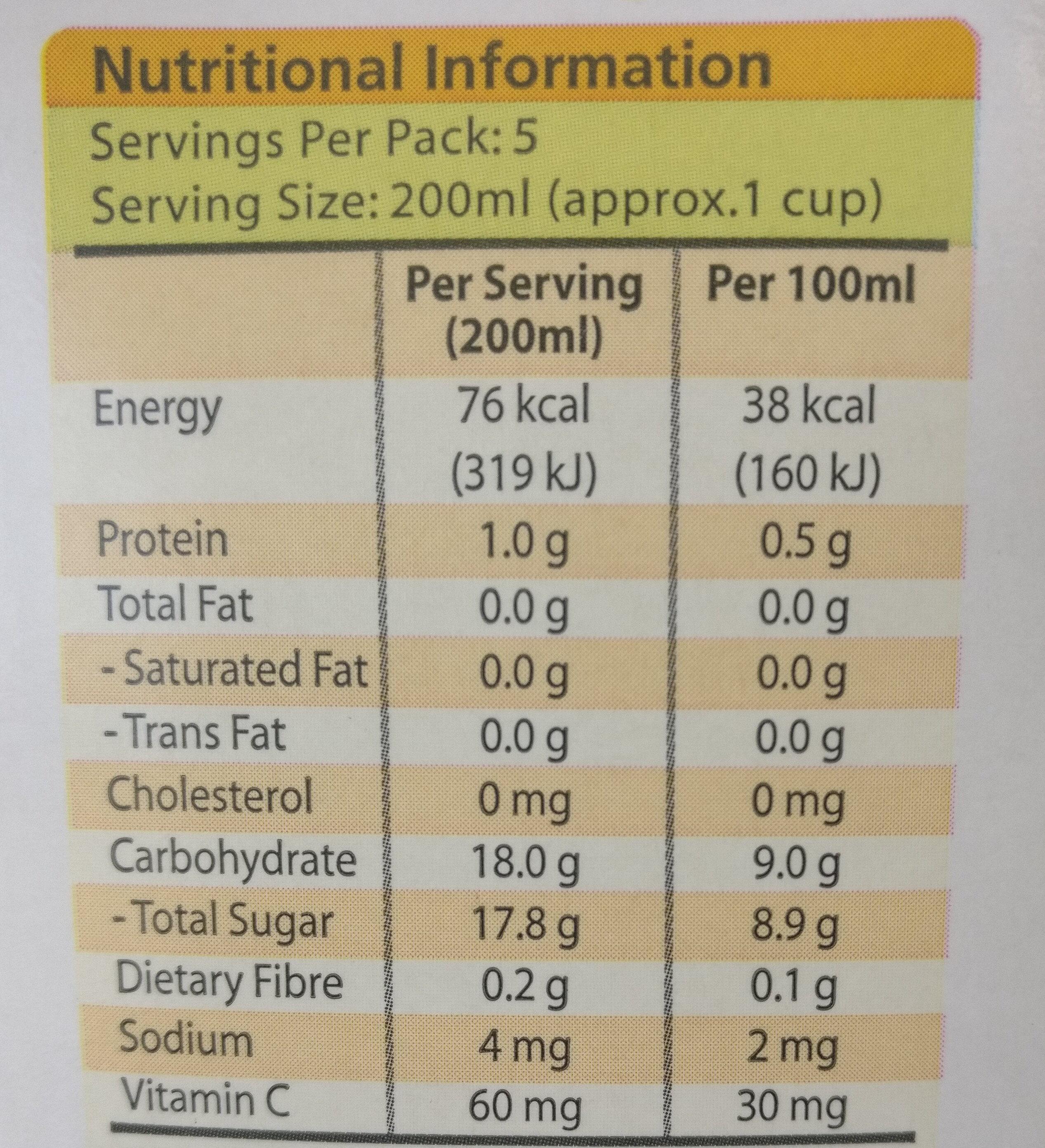 100% Juice Orange - Informations nutritionnelles - en