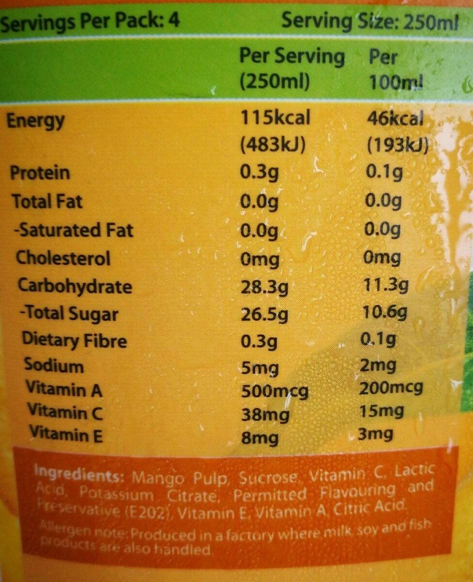 Marigold Peel Fresh Tropical Mango - Voedigswaarden