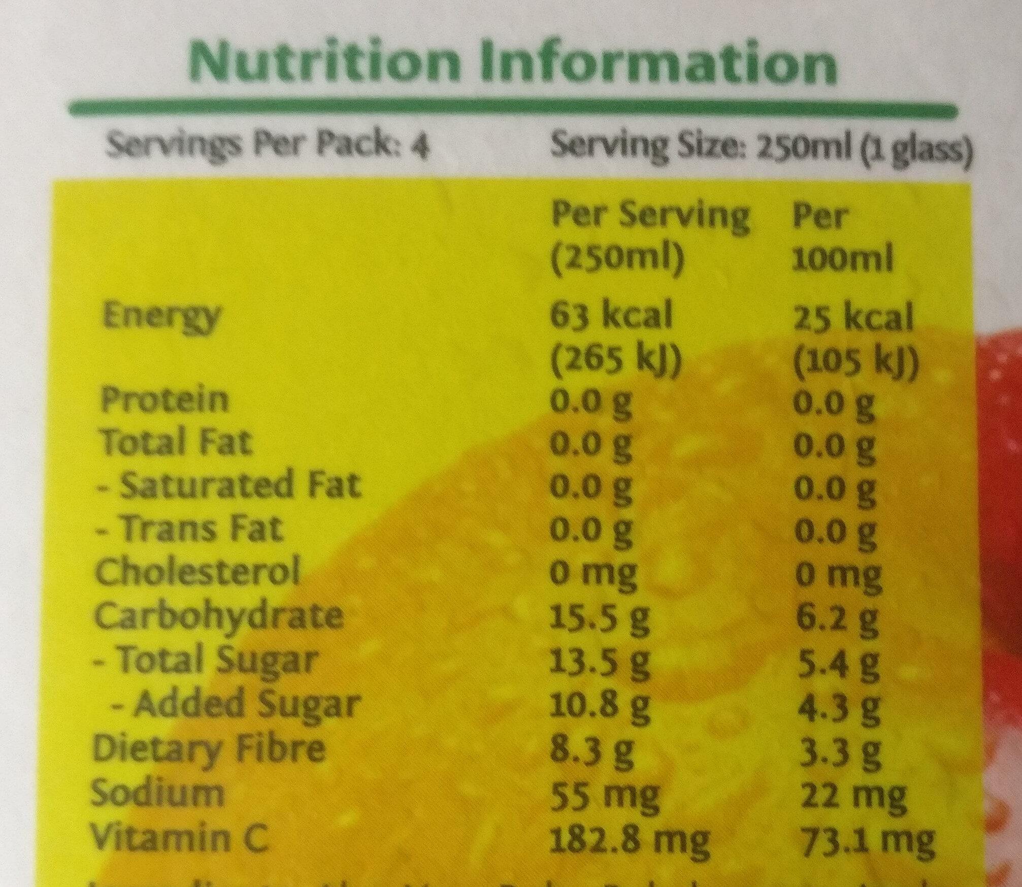 Peel Fresh Less Sugar Apple Aloe Vera Juice Drink - Nutrition facts - en