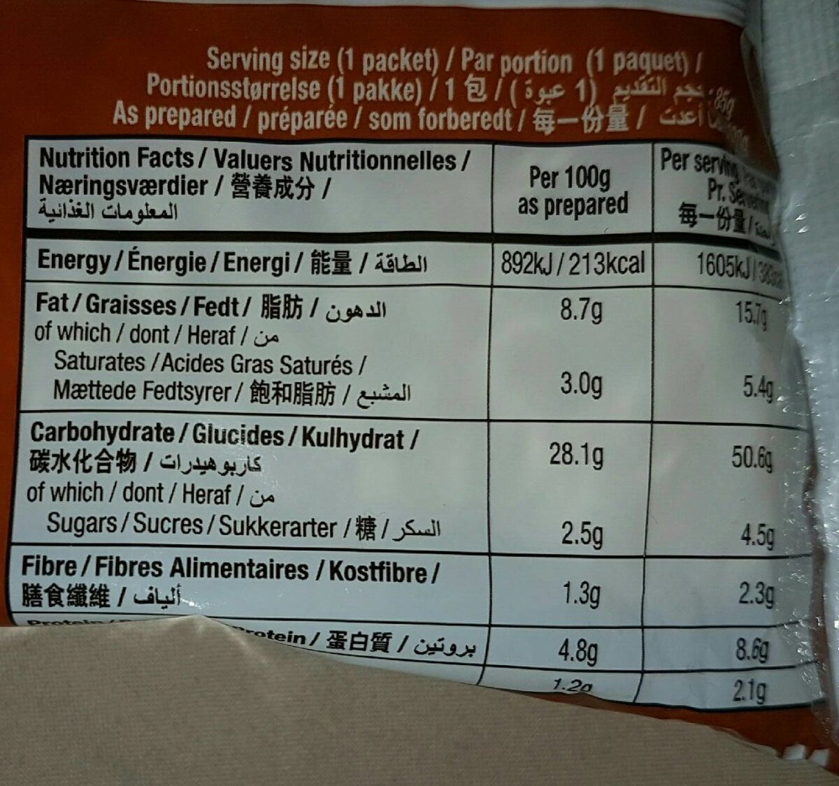 Spicy stir fried noodle - Nutrition facts - fr