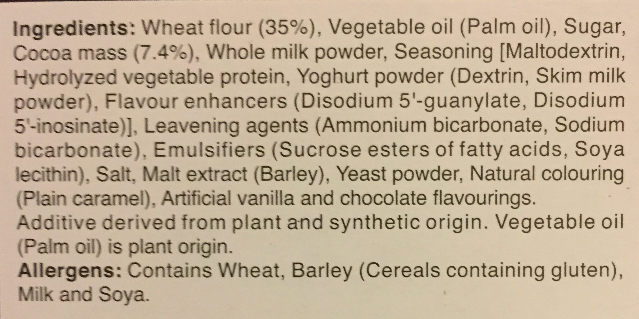 Hello Panda - Chocolate - Ingredients