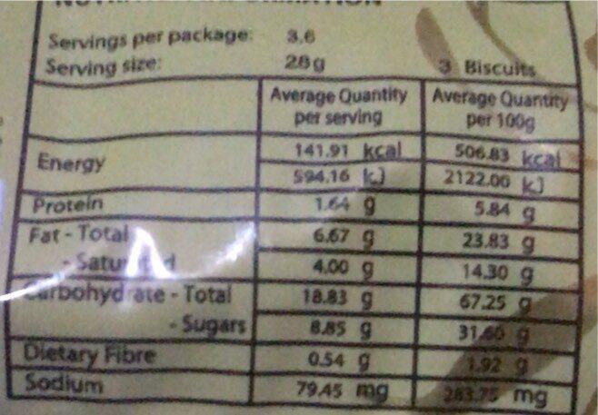 Chocolate chips cookies - Voedingswaarden - fr