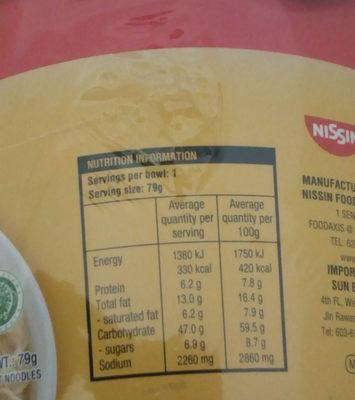 noodles au poulet - Nutrition facts