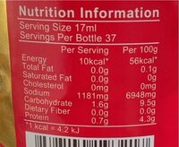 Light soy sauce - Nutrition facts - fr