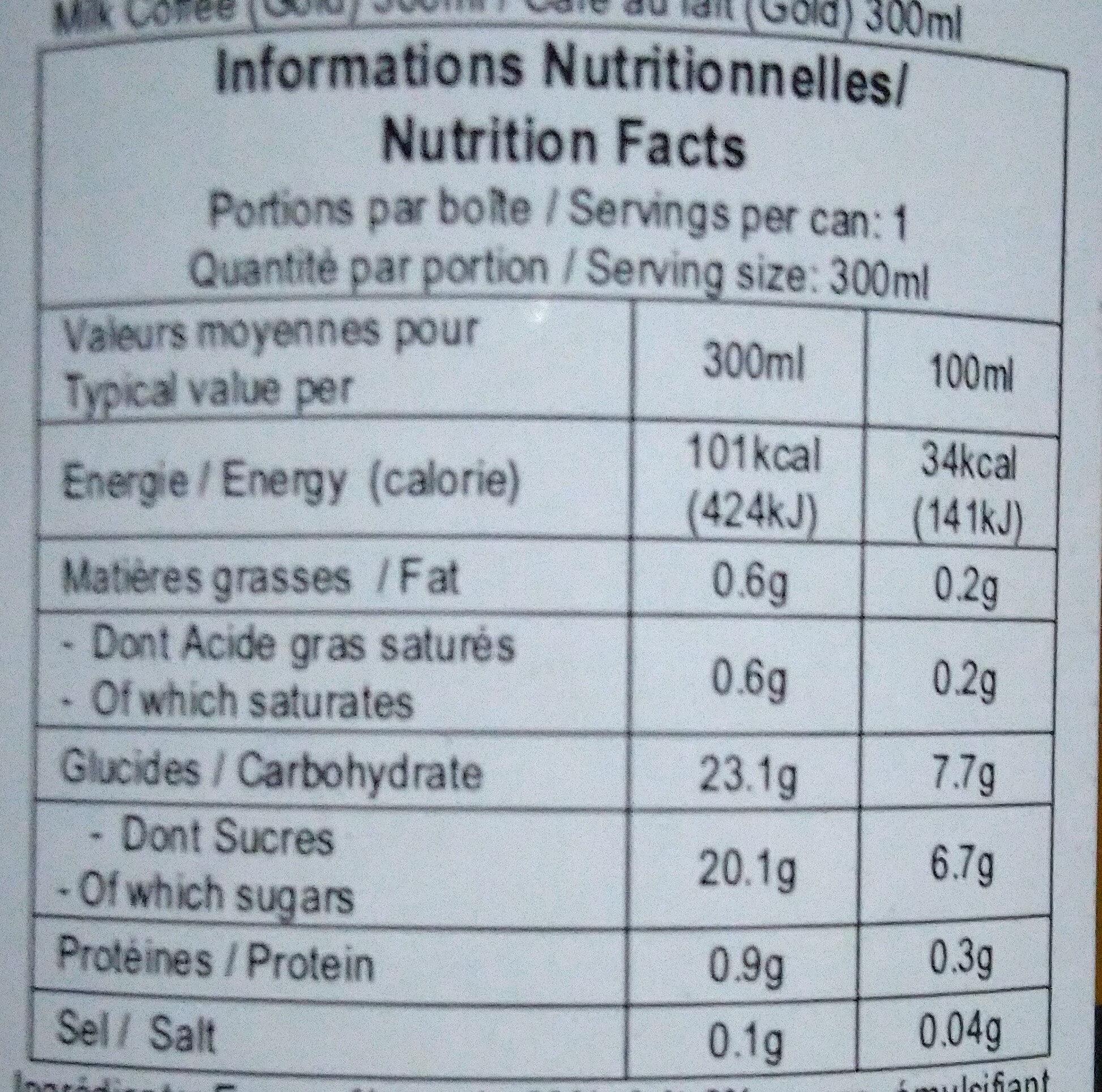 Milk Coffee - Nutrition facts - fr