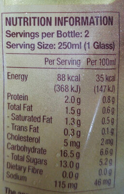 Milk Coffee Less Sweet - Voedingswaarden - en