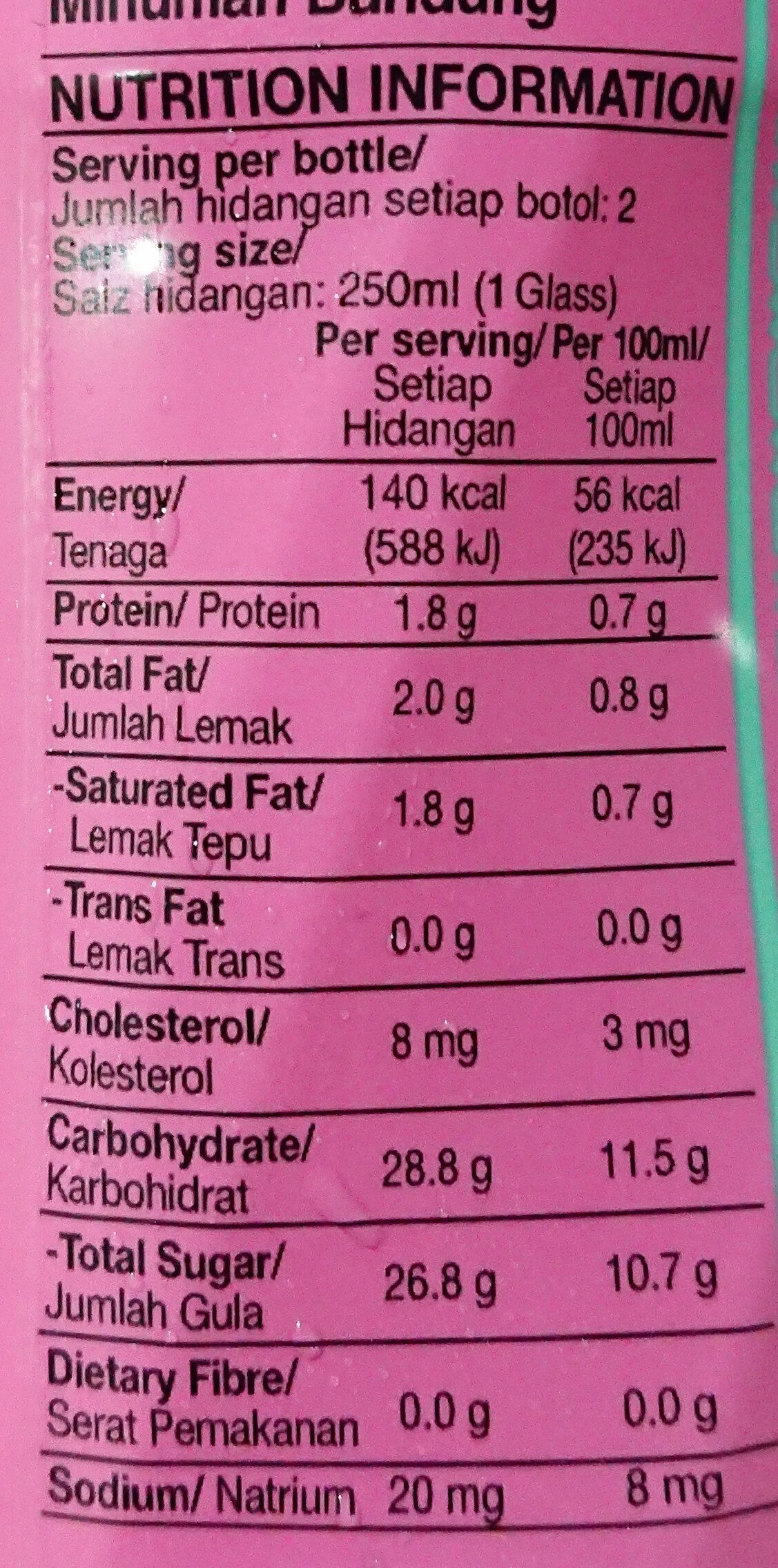 Bandung Rose Milk Drink - Informations nutritionnelles