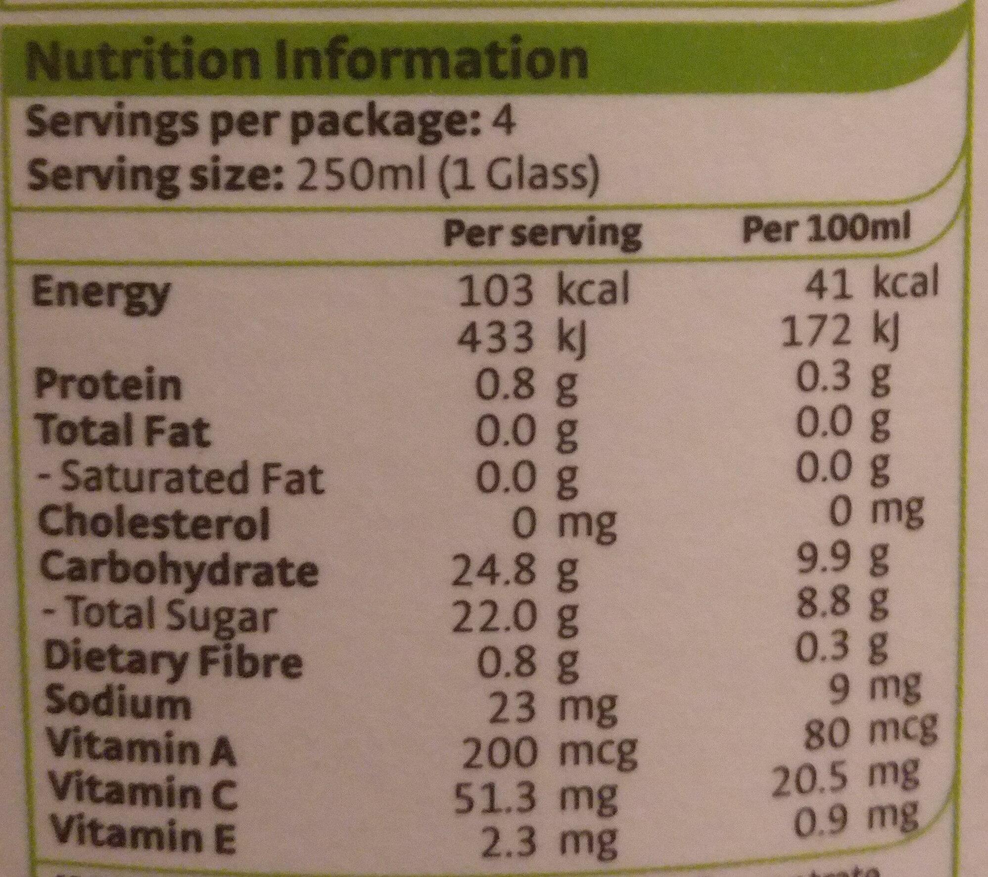 Orange Juice - Voedingswaarden - en