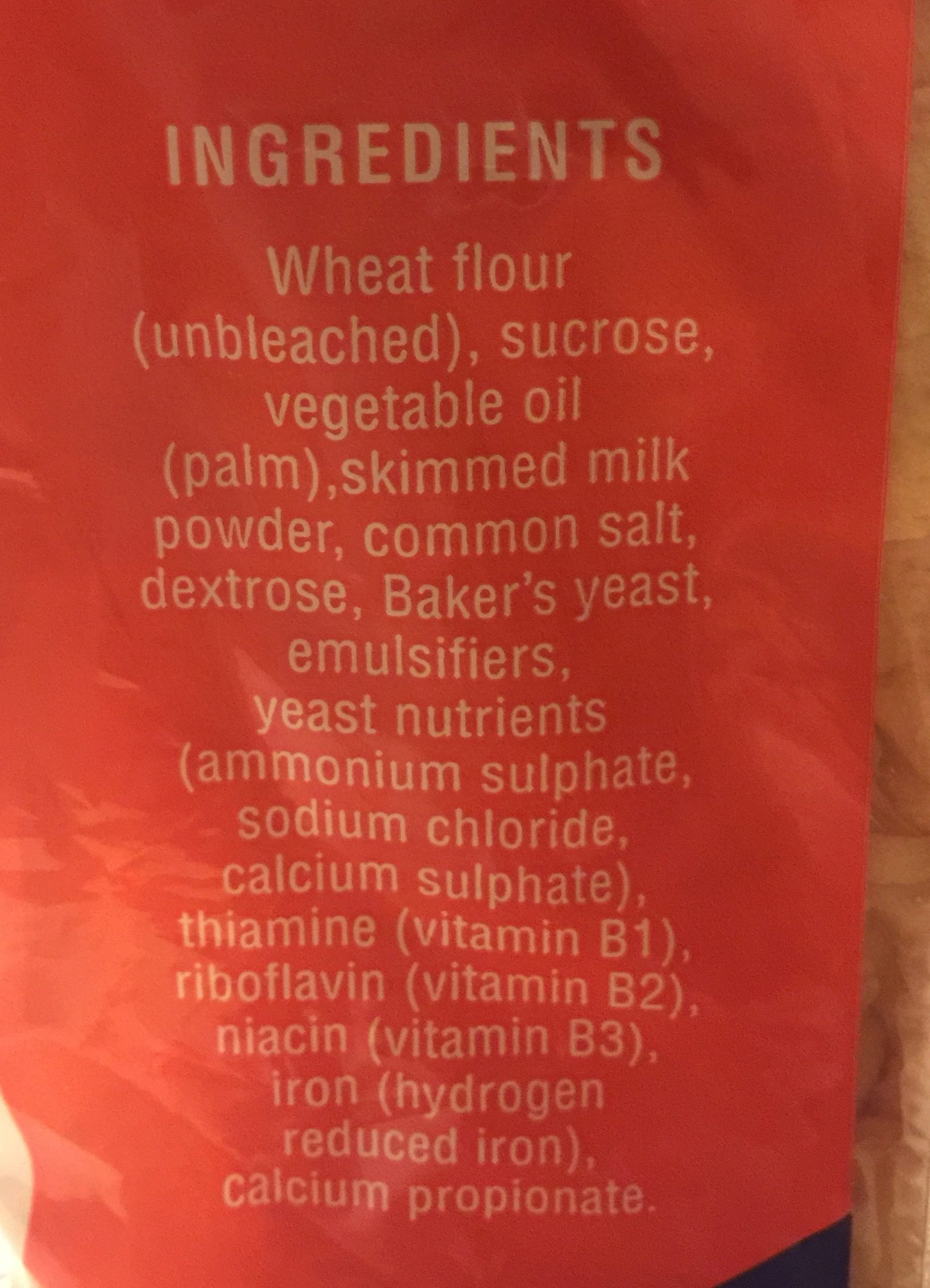 Enriched white bread - Ingredients
