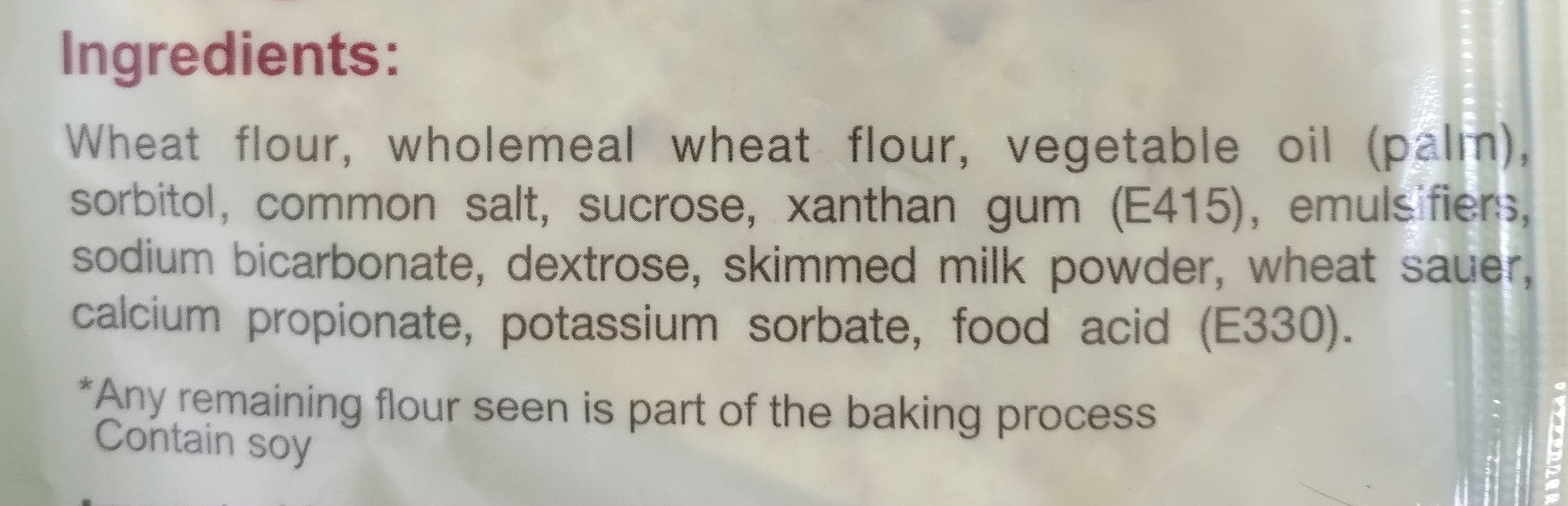 Wholemeal Wraps 5pcs - Ingrédients - en