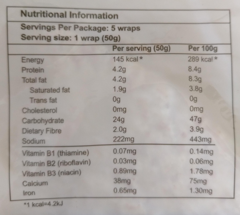 Wholemeal Wraps 5pcs - Informations nutritionnelles - en