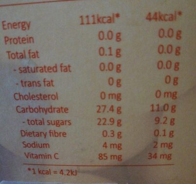 Orange juice drink - Nutrition facts - fr