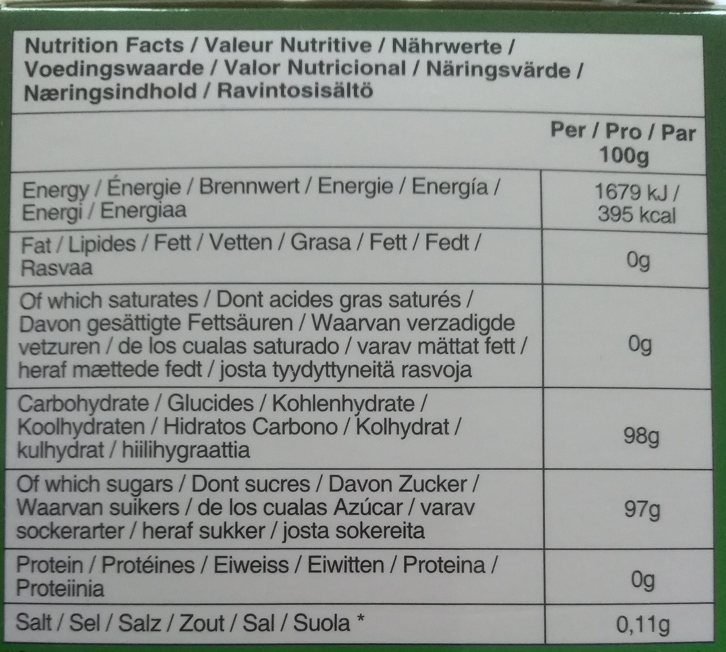 Boisson instantanée au Gingembre et au Miel - Informations nutritionnelles - fr