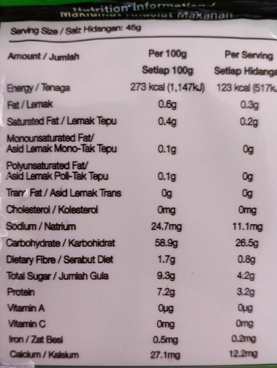 Roti span - Informations nutritionnelles - fr